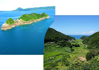 中江ノ島と春日集落と安満岳